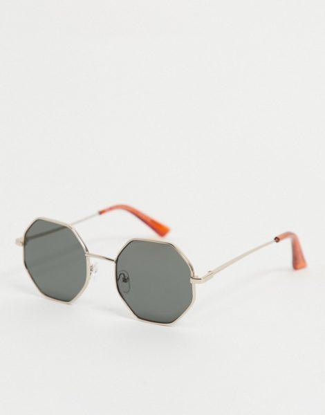 New Look - Achteckige Sonnenbrille mit Metallgestell in Gold-Goldfarben