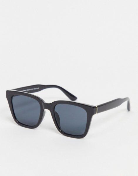 New Look - Große Sonnenbrille mit D-förmigem Gestell in Schwarz