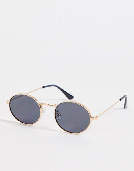 New Look - Schmale, ovale Sonnenbrille in Gold-Goldfarben
