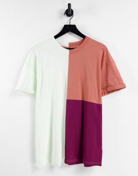 Night Addict - T-Shirt in Kupfer mit Farbblockdesign