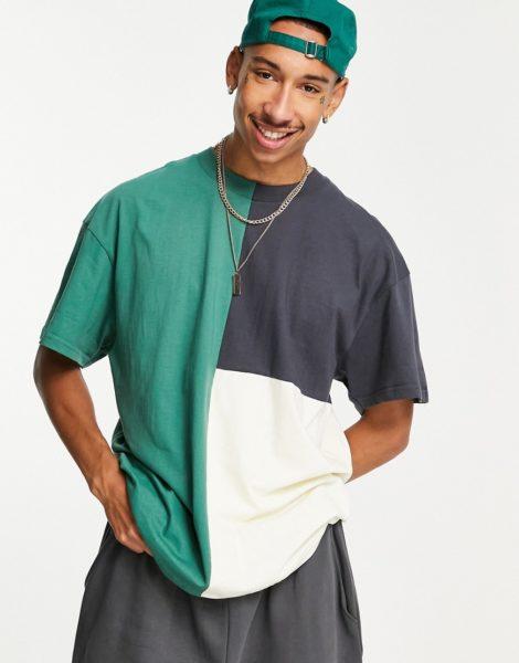 Night Addict - T-Shirt in Marineblau mit Farbblockdesign