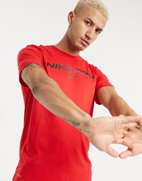 Nike Training Pro - Rotes T-Shirt mit Logo