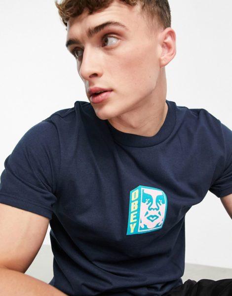 Obey - T-Shirt in Marineblau mit Gesichts-Logo