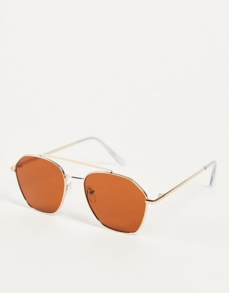 Only & Sons - Sonnenbrille mit Brauensteg und Rahmen in goldfarben