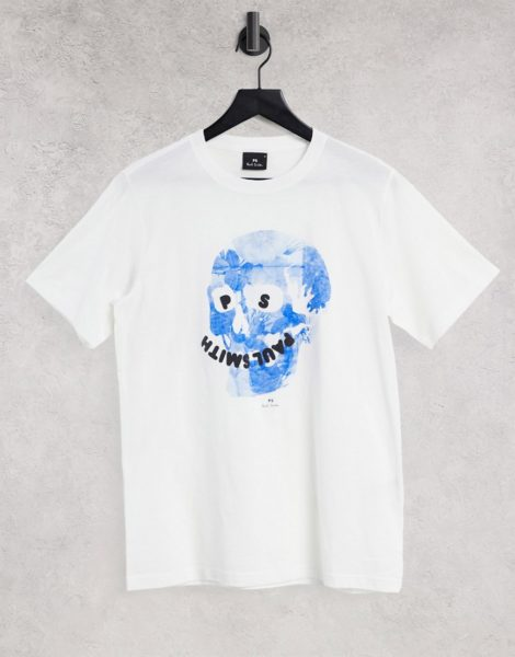 PS Paul Smith - T-Shirt mit floralem Totenkopf-Motiv in Weiß