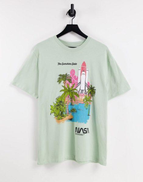 Pull&Bear - T-Shirt in Weiß mit NASA-Print