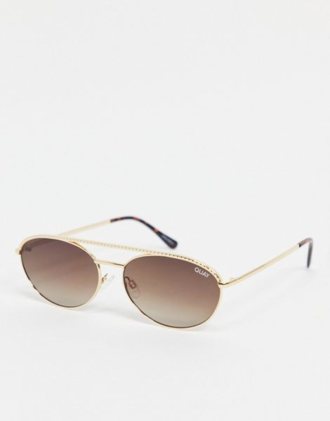 Quay - Easily Amused - Schmale, ovale Sonnenbrille für Damen in Gold-Goldfarben