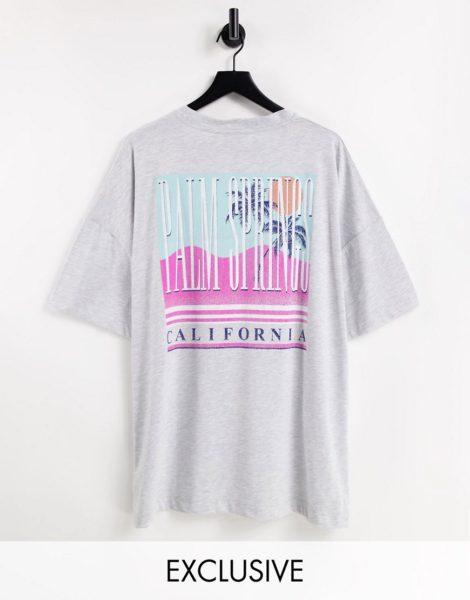"""Reclaimed Vintage Inspired - Locker geschnittenes T-Shirt aus Bio-Baumwolle mit """"Palm Springs""""-Print auf dem Rücken-Grau"""