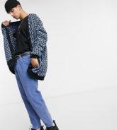 Reclaimed Vintage - Inspired - Strickjacke mit Rautenmuster in Schwarz und Blau-Mehrfarbig