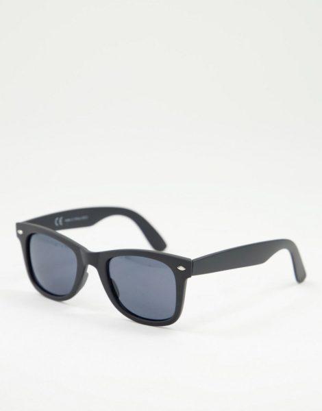 River Island - Gummierte Sonnenbrille in Schwarz