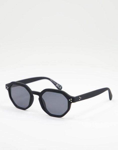 River Island - Sechseckige Sonnenbrille in Schwarz