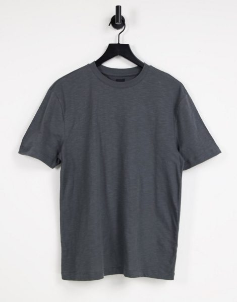 River Island - Strukturiertes T-Shirt in Grau mit schmaler Passform