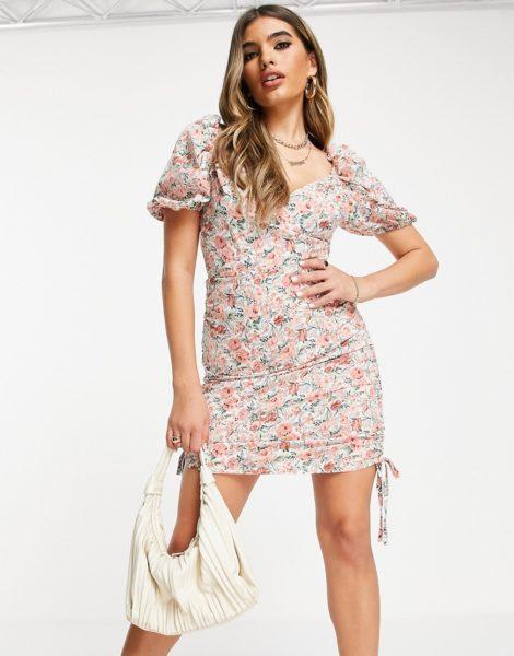 Saint Genies - Kleid mit seitlicher Raffung und Blumenprint-Mehrfarbig