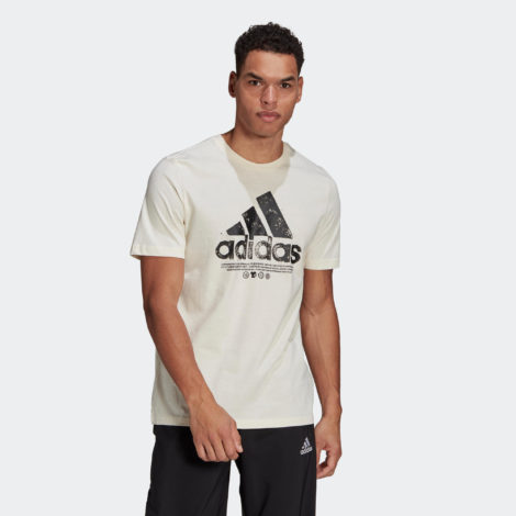 T-Shirt Fitness Schriftzug Herren ungefärbt
