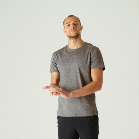 T-Shirt Fitness Sportee 100 % Baumwolle Herren grau
