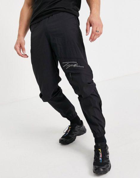 Topman - Locker geschnittene Cargo-Hose in Schwarz mit Signaturdetail und Ziernaht