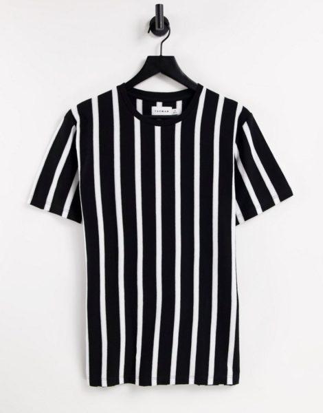 Topman - T-Shirt mit klassischer Passform und vertikalen Streifen in Schwarz und Weiß-Mehrfarbig