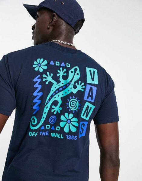 Vans - Crawling - T-Shirt in Marineblau mit Print hinten