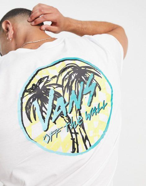 Vans - Sketched Palms - T-Shirt mit Rückenprint in Weiß