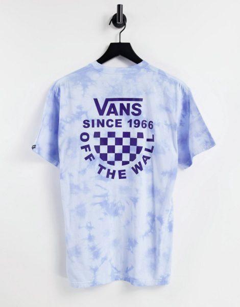 Vans - T-Shirt in Blau mit Schachbrett-Logo, Batikmuster und Rückenprint