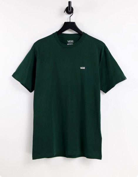 Vans - T-Shirt in Dunkelgrün mit Logo auf der linken Brust