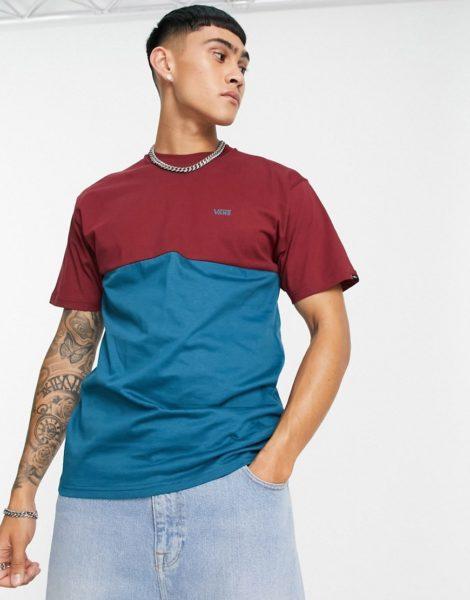 Vans - T-Shirt mit Colourblock-Design in Weinrot/Blau