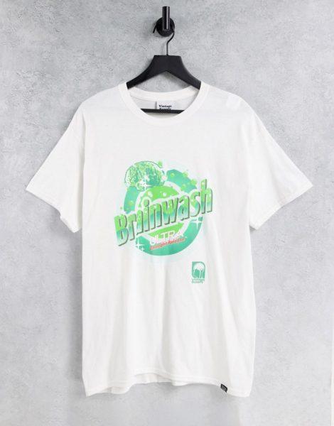 """Vintage Supply - T-Shirt in Weiß mit """"Brainwash Ultra""""-Print"""