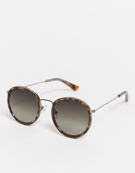 Weekday - Explore - Runde Sonnenbrille in Schildpatt-Optik-Braun