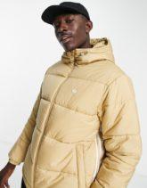 adidas Originals - Wattierter Mantel mit den 3 Streifen und Kapuze in Beige-Neutral