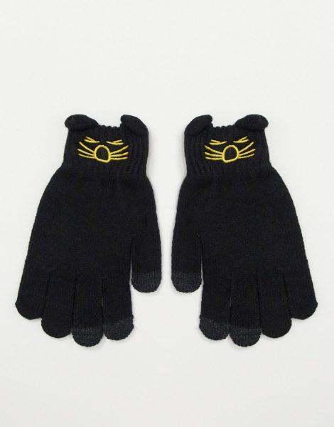 7X - Elegante Touchscreen-Handschuhe mit Verzierung-Grau