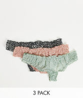 ASOS DESIGN - 3er-Pack Tangas aus Netzstoff mit Rüschen in verschiedenen Farben-Mehrfarbig