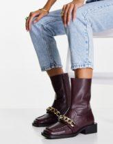 ASOS DESIGN - Alarm - Loafer-Stiefel aus hochwertigem Leder in Burgunderrot mit Kette
