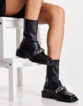 ASOS DESIGN - Alarm - Loafer-Stiefel aus hochwertigem Leder in Schwarz mit Kette