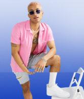 ASOS DESIGN - Amnesia - Hemd in regulärer Passform mit Ibiza-Print und Reverskragen-Rosa