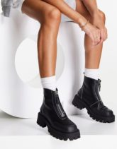 ASOS DESIGN - Autumn - Stiefel in Schwarz mit eckiger Zehenpartie und Reißverschluss vorne