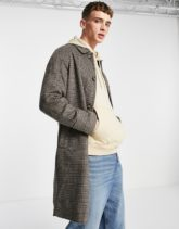 ASOS DESIGN - Braun karierter Mantel aus Wollmischung-Grau