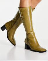 ASOS DESIGN - Chamomile - Kniehohe Stiefel aus hochwertigem Leder in Khaki mit eckiger Zehenpartie-Grün