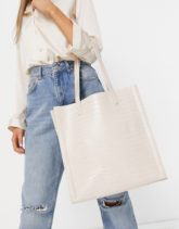 ASOS DESIGN - Cremefarbene Shopper-Tasche mit Laptopfach in Krokodilleder-Optik-Weiß