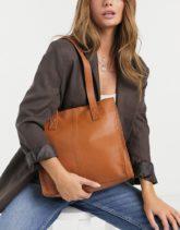 ASOS DESIGN - Eckige Shopper-Tasche aus braunem Leder