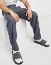 ASOS DESIGN - Elegante Hose mit weitem Bein und seitlichem Schlitz in Grau-Tonic