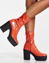 ASOS DESIGN - Elena - Stiefel mit hohem Absatz und Lackoptik in Orange