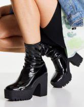 ASOS DESIGN - Elena - Stiefel mit hohem Absatz und Lackoptik in Schwarz