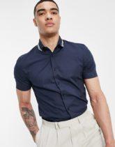 ASOS DESIGN - Eng geschnittenes Hemd mit geripptem Kragen-Marineblau