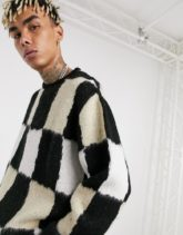 ASOS DESIGN - Flauschiger Oversize-Pullover mit Schachbrettmuster-Schwarz