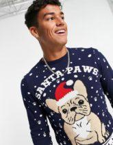 ASOS DESIGN - Foundation - Weihnachts-Pullover mit Französische-Bulldogge- Design-Marineblau