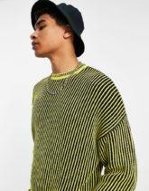 ASOS DESIGN - Gerippter Oversize-Pullover in Gelb mit Streifenmuster