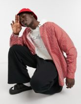 ASOS DESIGN - Gestreiftes Extreme-Oversize-Dad-Hemd in Rot