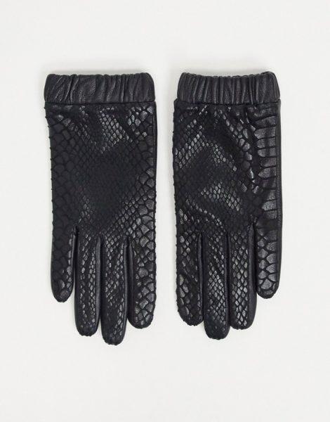 ASOS DESIGN - Handschuhe aus Leder mit glänzendem Schlangenprint und gerafftem Bündchen in Schwarz