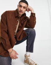 ASOS DESIGN - Hemd in extremer Oversize-Passform aus haariger Wollmischung in Braun