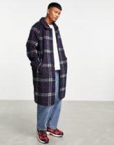 ASOS DESIGN - Karierter Mantel aus Wollmischung in Marineblau